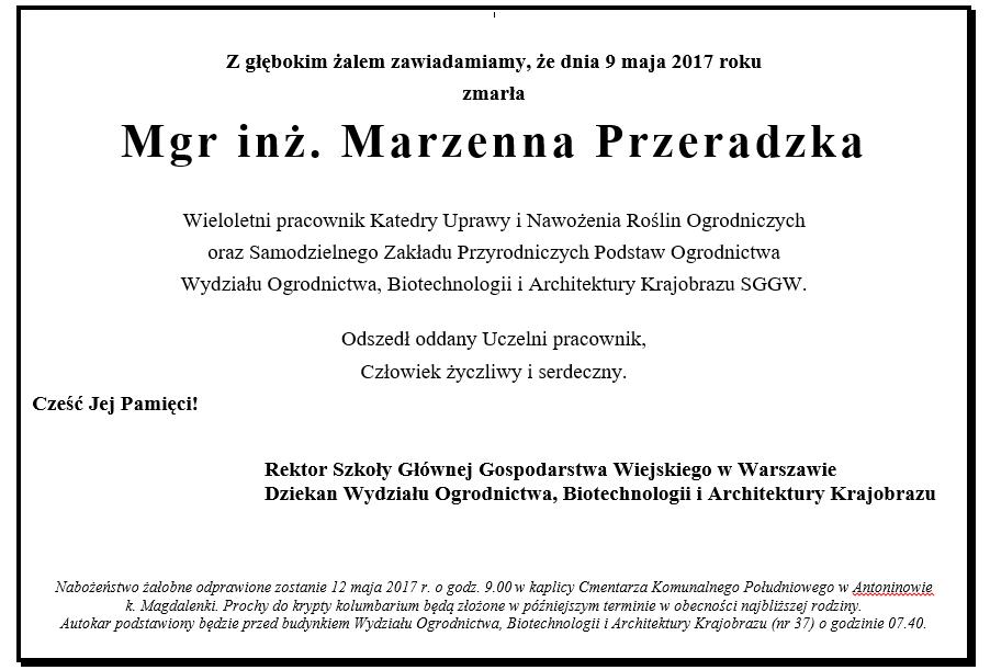 Nekrolog Marzena Przeradzka