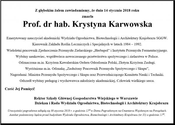 Nekrolog Karwowska