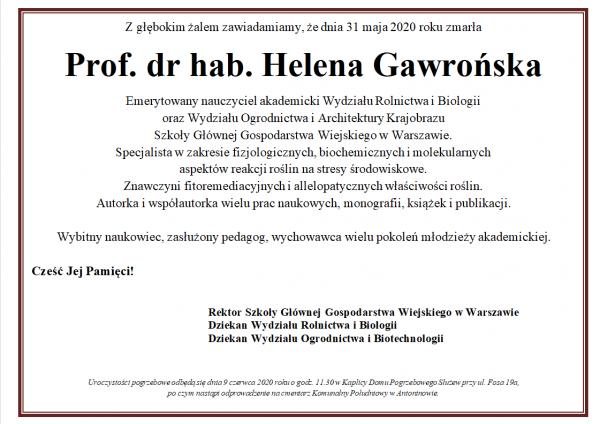 Nekrolog Helena Gawrońska
