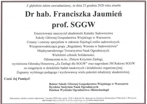 Nekrolog dr hab F Jalmien